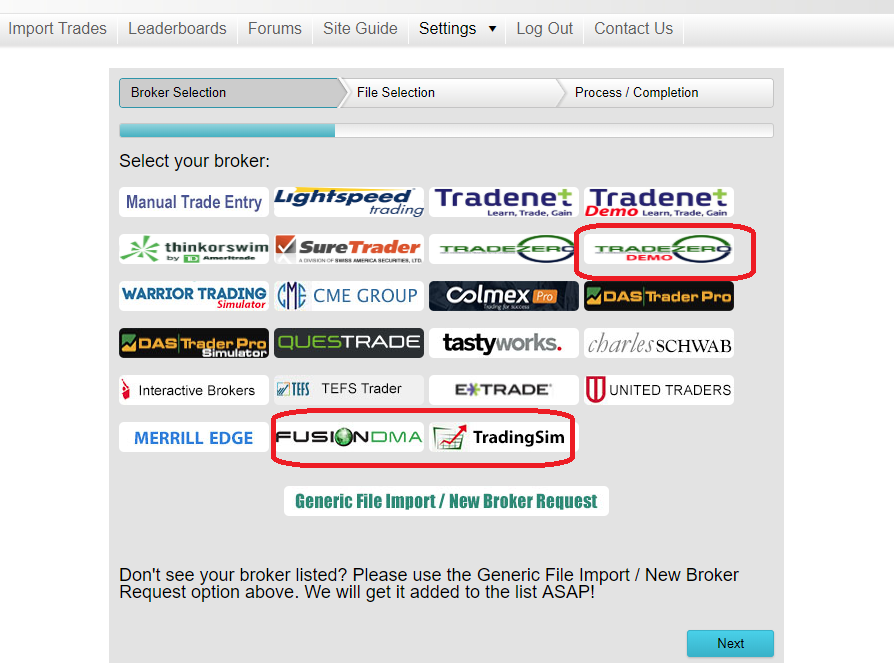 New Trade Imports for brokers FusionDMA, TradingSim.com, and TradeZero Demo Accounts